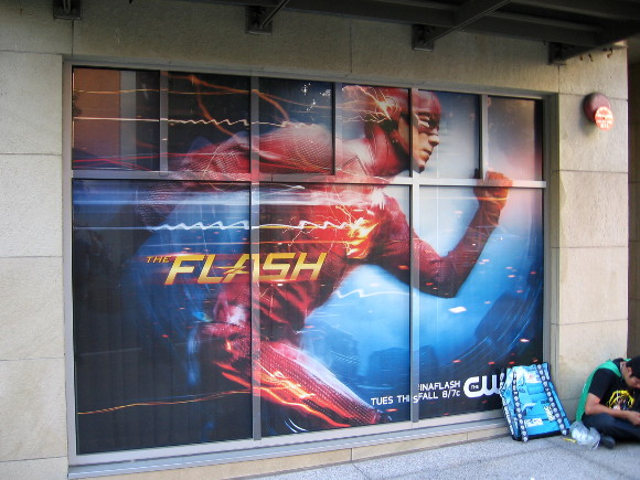 Flash sign is a window wrap near Petco Park.