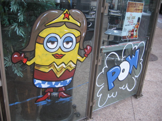 Minion impersonates Wonder Woman at the Tilted Kilt in East Village.