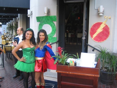 Two hostesses at a local restaurant are dressed for Comic-Con.