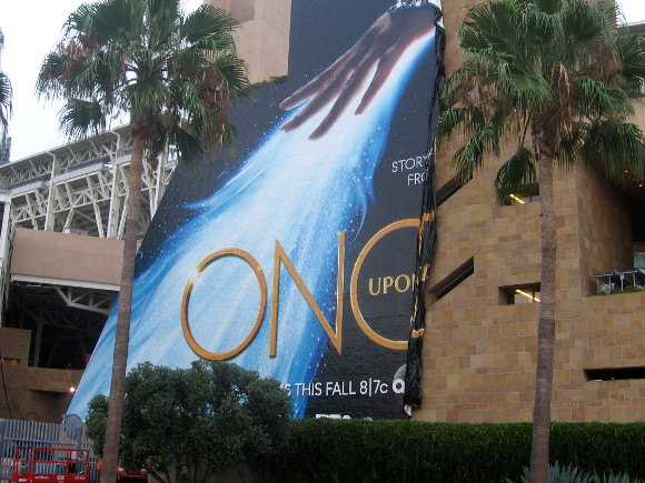 This big Once Upon a Time banner is falling off Petco Park!