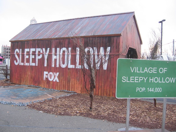 Sleepy Hollow covered bridge recreated in Petco Park parking lot.