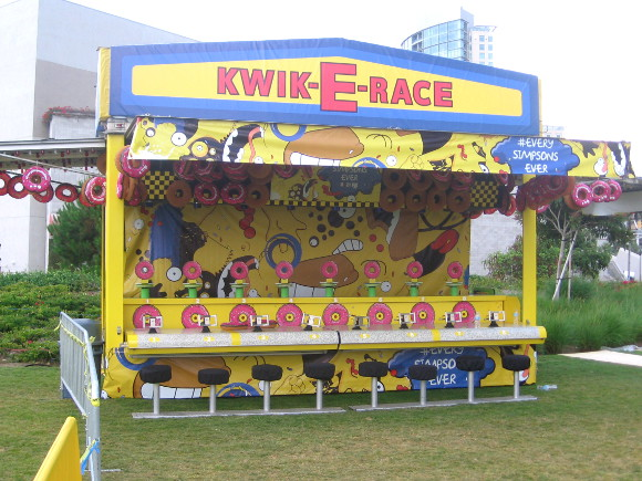One of the fun Simpsons games set up on the grass by the Hilton hotel.