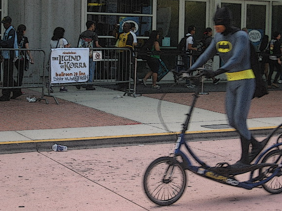 Batman zoomed by. I used Gimp cartoon mode to make blurry pic fun!