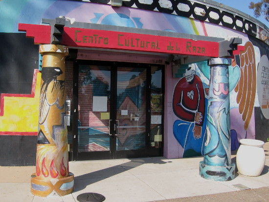 Front entrance of Centro Cultural de la Raza in Balboa Park.