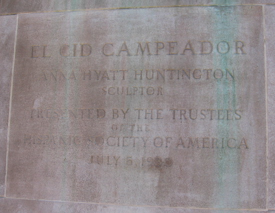 El Cid Campeador, presented by the Hispanic Society of America in 1930.