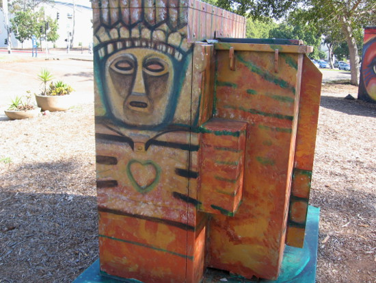 Nearby utility box made into a work of art.