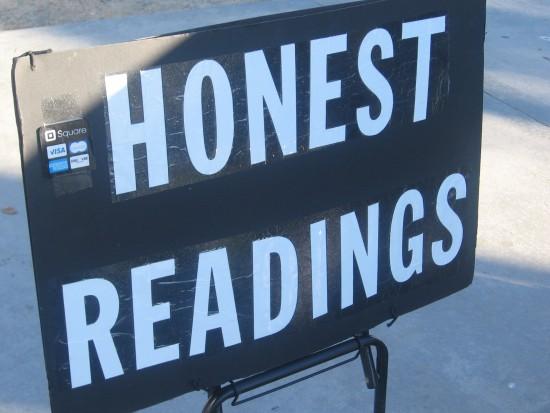 HONEST READINGS sign near Seaport Village.