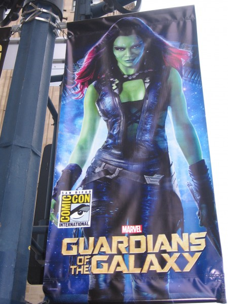 Gamora of Guardians of the Galaxy on a banner.