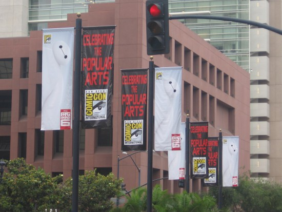 Big Hero 6 banners line Broadway in downtown San Diego.