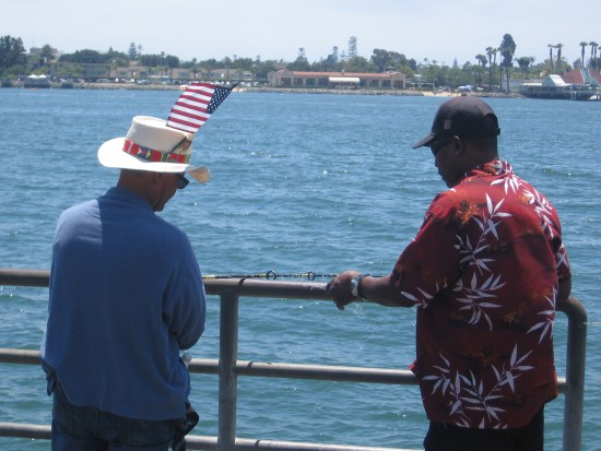 Friendship and brotherhood on an American pier.
