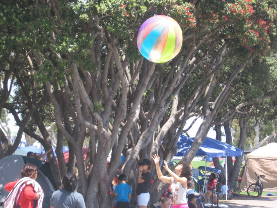 Thousands along San Diego Bay enjoy barbeque and play.