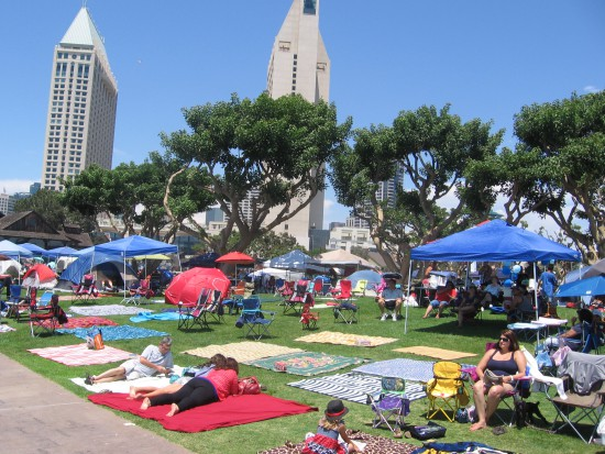 People have claimed spots to watch tonight's fireworks on the bay.