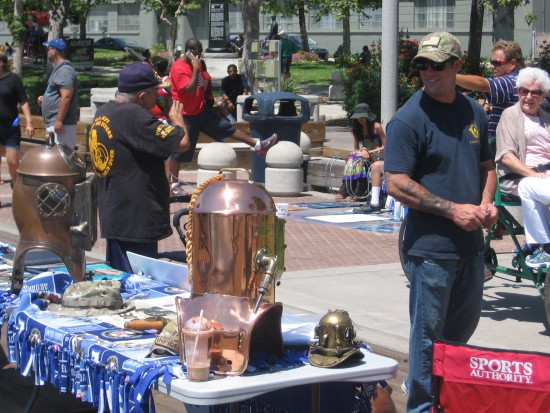 A display on the Embarcadero of historic diving equipment.