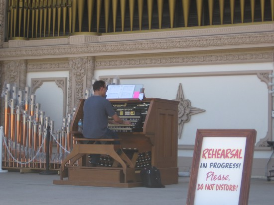 R. Jelani Eddington rehearses on the Spreckels Organ.
