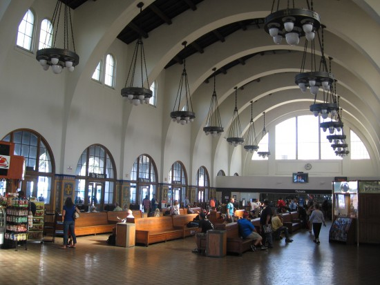 A look inside the large train station in downtown San Diego.