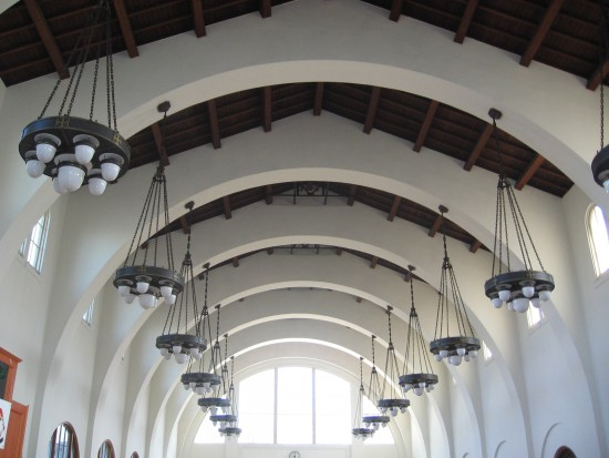 A cool photo of the arched ceiling of Union Station.