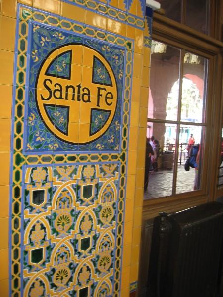 Blue and orange tiles form classic Santa Fe design.