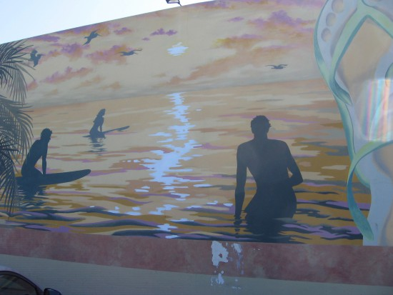 Surfers are a major theme in this popular beach city.