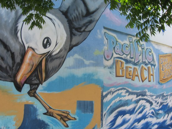 Pacific Beach public art features a large seagull.