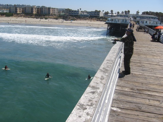 This pic shows fishing, surfing and the beach.