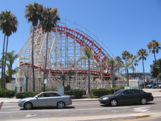 Looking across Ventura Place at the Giant Dipper roller coaster.