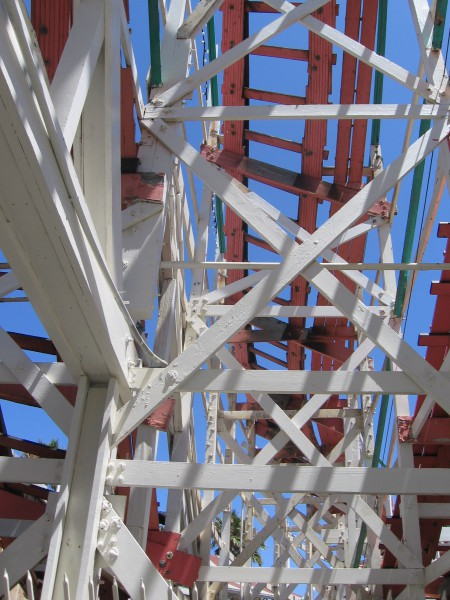 Looking up at tracks of the picturesque coaster.