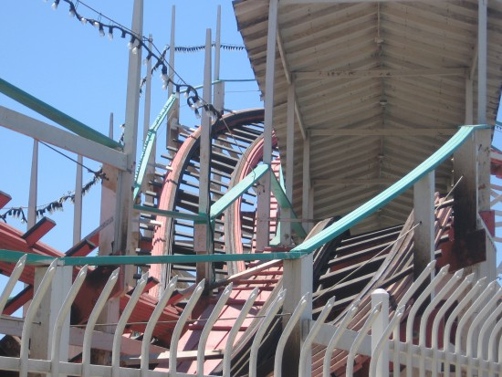 The winding coaster tracks make for interesting photos.