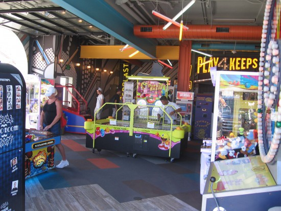 A large indoor arcade features loads of classic games.