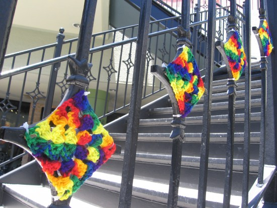 Looks like someone yarn bombed this stair railing.