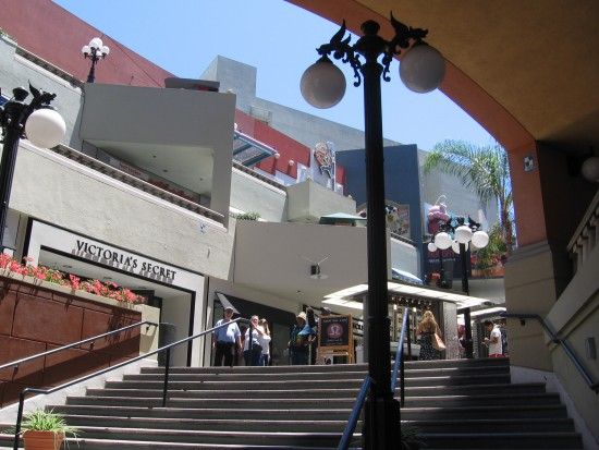 Broad stairs ascend into San Diego's Horton Plaza.
