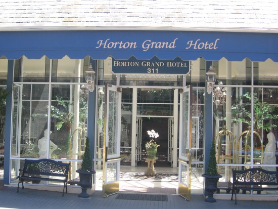 Entrance to elegant Horton Grand hotel in the Gaslamp.