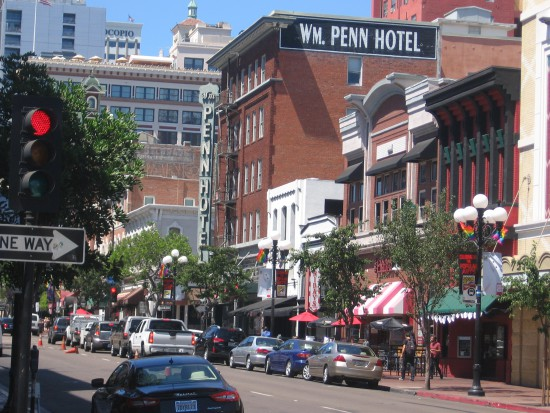 Just a typical view of the always lively Gaslamp.