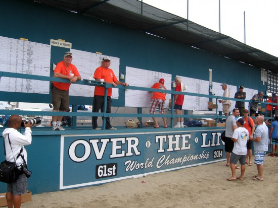 Scoreboard for 61st World Championship of Over The Line.