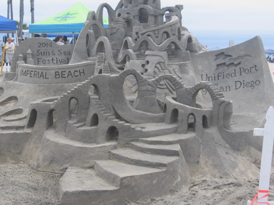 2014 Imperial Beach Sun and Sea sandcastle greets visitors.
