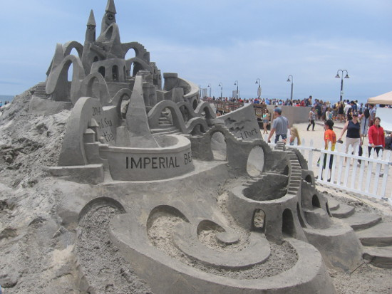 Featured sand sculpture built by Kirk Rademaker of Sand Masters.