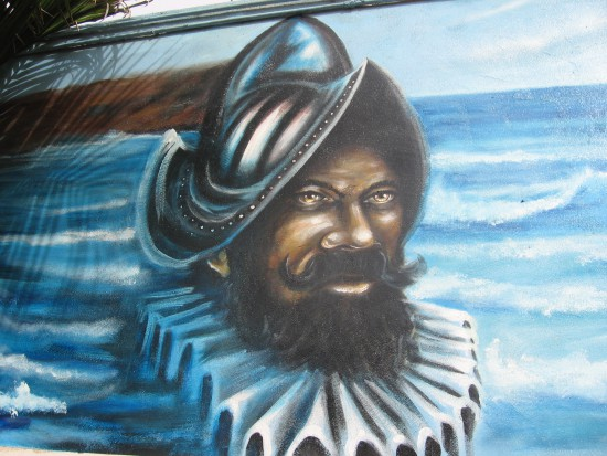 Mural in Old Town alley depicts explorer Cabrillo.