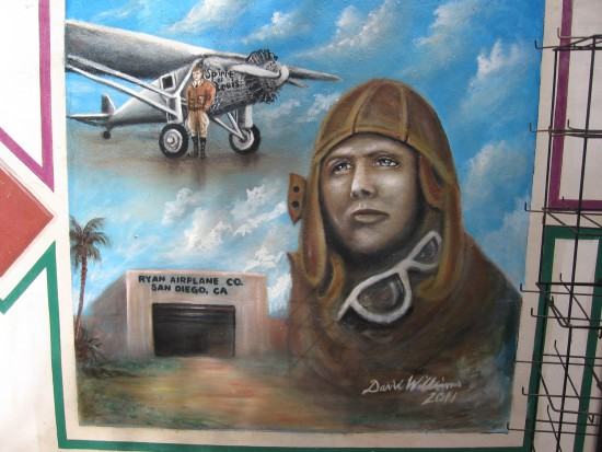 Image of Charles Lindbergh and Spirit of St. Louis.