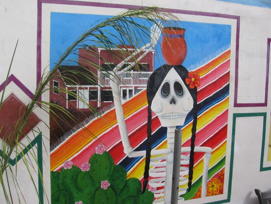 Day of the Dead skeleton in front of the Whaley House.