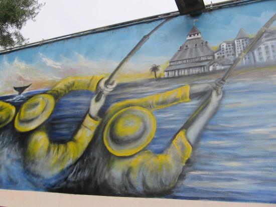 Tuna fishermen and whale fluke off Coronado.