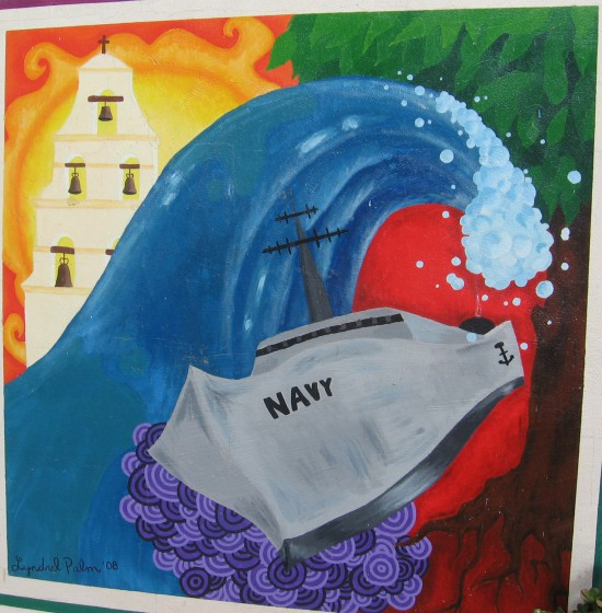 Navy ship, huge surf and Mission San Diego.