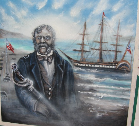 Mural shows an American tall ship in San Diego Bay.