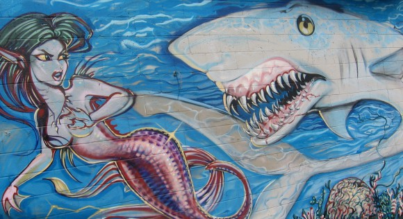 Fantastic mermaid and shark street mural in Imperial Beach.