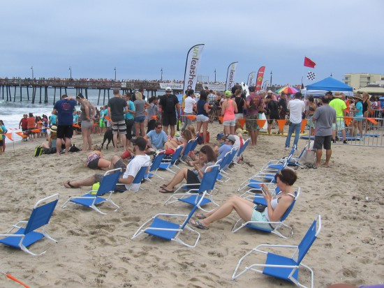 The VIP section fills and so does the beach and pier.