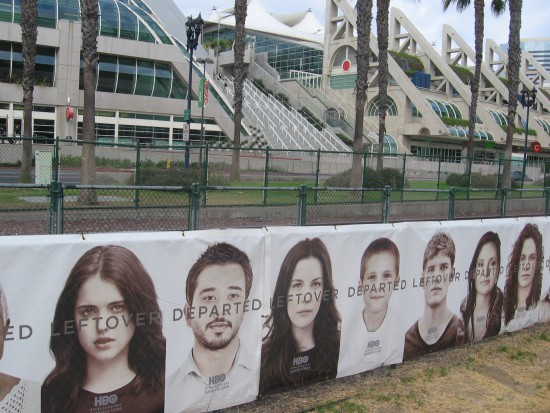 Several long banners with faces advertise The Leftovers on HBO.