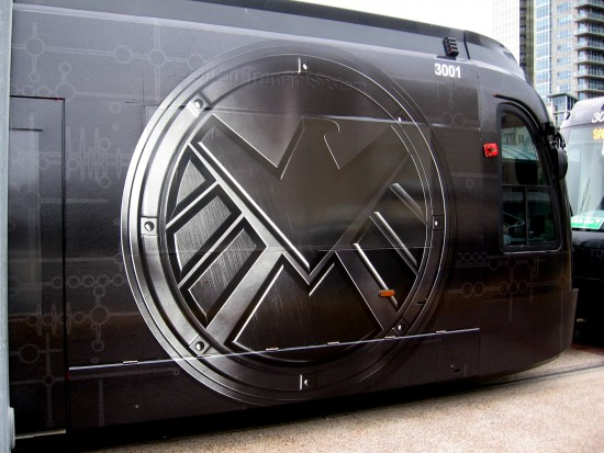 S.H.I.E.L.D. emblem on a San Diego trolley for 2014 Comic-Con.