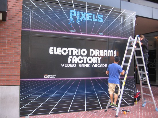 Electric Dreams Factory sign applied to Hard Rock Hotel window.