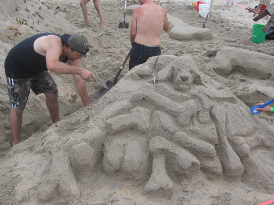 One unique sand sculpture was all about dogs.