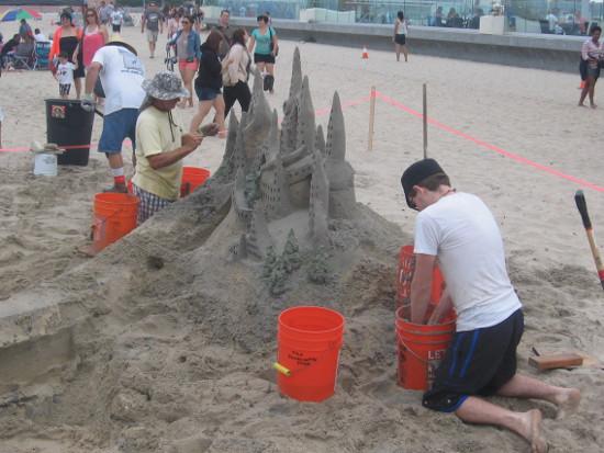 A castle with tall spires in the Imperial Beach competition.
