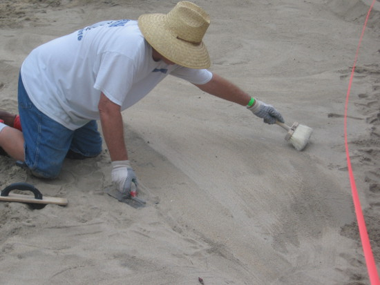 Brushes are often used to smooth and contour the sand.