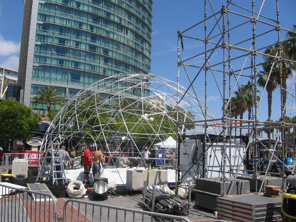Workers put up Blacklist venue for 2014 San Diego Comic-Con.